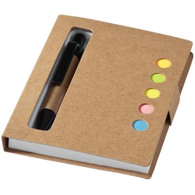 Image of Branded Reveal Notebook with sticky notes and pen