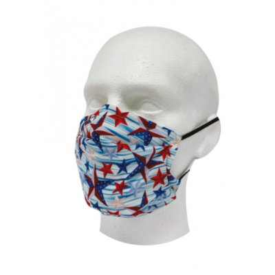 Image of 2 ply pleated polyester mask. Printed with your Logo